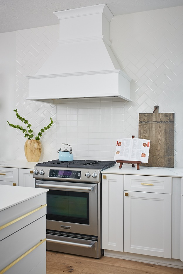 gray cabinets, gold hardware, white subway tile